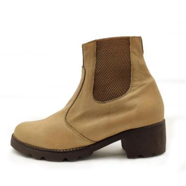 Bota Botina Chelsea IAC Calçados Couro Bege  feminino