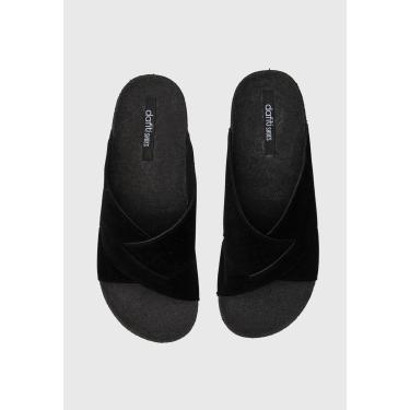 Rasteira Slide DAFITI SHOES Transpasse Preta DAFITI SHOES TN 190 feminino