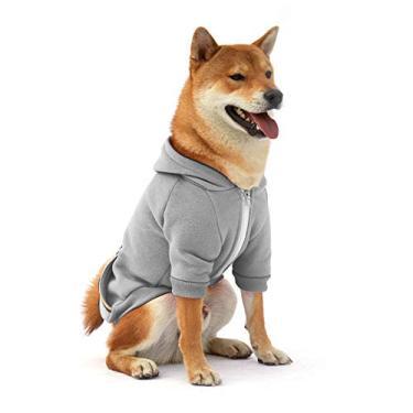Moletom com capuz para cachorro com capuz de lã para cães pequenos, médios e extrapequenos, extra pequenos, cães, cinza, rosa, vermelho, roxo, com orifício de arnês e listras reflexivas, pulôver, pulôver, cachorros, capuz, jaqueta quenteFooubaby L cinza