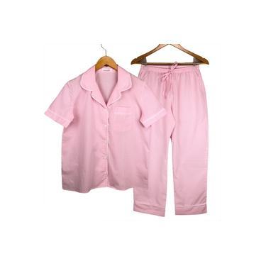 Pijama Feminino Botões, estilo Americano, Meia estação, Xadrez Vichy Rosa