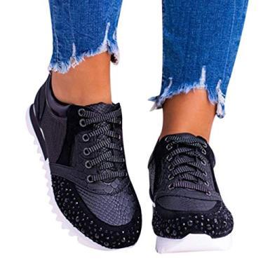 Imagem de JOLIXIEYE Elegante sapato ortopédico confortável com strass de cristal, tênis esportivo de corrida casual, Preto, 36 M EU