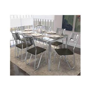 Jogo De Mesa 6 Cadeiras Kappesberg CMC042CR-21 Crome Cromado/Marrom