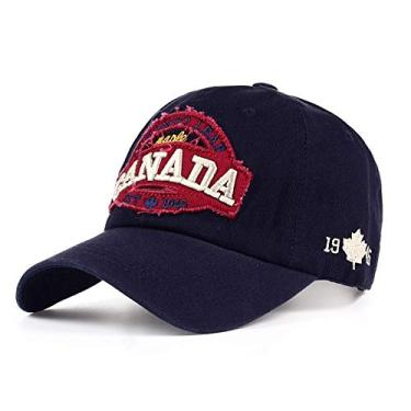 Boné 2021 Nova Canada Carta Bordado Boné de Beisebol Masculino Feminino Moda Snapback Bonés Hip-hop Chapéu ao Ar livre Ajustável Chapéus de Sol (Azul)