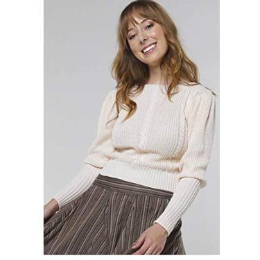 Suéter de Tricot Mangas Bufantes Gola Canoa Sob Off White (G)
