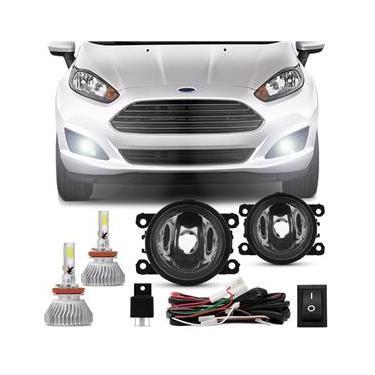 Kit Farol de Milha Fiesta 2010 a 2014 New Fiesta 2013 a 2016 + Kit Super LED 3D Headligh H11 6000k