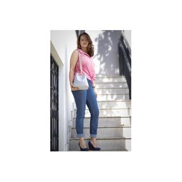 Bolsa Feminina modelos Saco/Baú Couro vem com necessaire Nylon 3 estilos de usar Tamanho Médio Cinza/Branco
