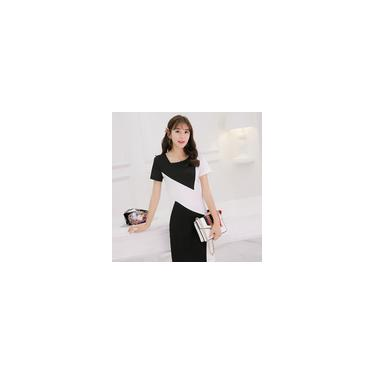 Novo vestido fashion estilo coreano de manga curta vestido feminino justo em patchwork