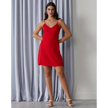 vestido curto alcinha alfaiataria leve Feminino AMARO VERMELHO VIVO 36