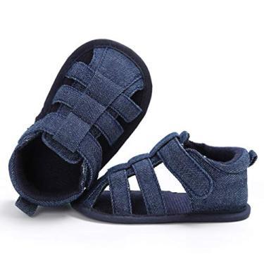 Imagem de Holibanna Sandália antiderrapante pré-andador sapatos de sola macia para bebês elegantes chinelos de lona plana (branca adequada para 0-6 meses), Jeans azul, 9 Months Narrow Toddler