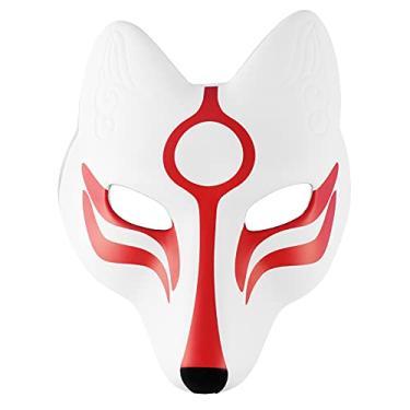 Imagem de Holibanna Fantasia de Halloween de raposa branca de EVA para festa de carnaval com tema de Halloween (branco e vermelho)