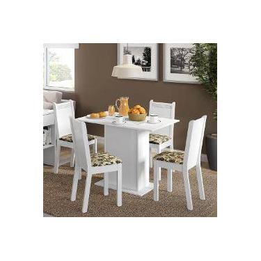 6fb5d9a35b3d7 Conjunto Para Sala De Jantar Mesa E 4 Cadeira Lexy Madesa Branco Bege Marrom