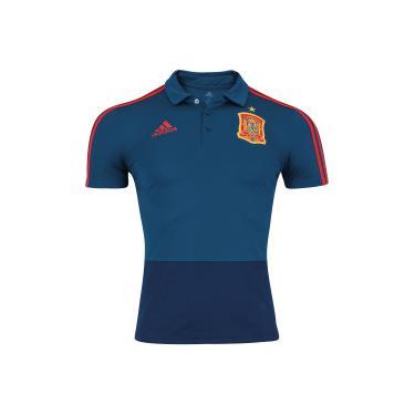 Camisa Polo Espanha 2018 adidas - Masculina - AZUL ESCURO adidas 5dd30da74272d