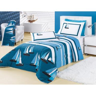 2ff4ee2e81 Jogo de Cama Vilela Enxovais Lençol Estampado 200 Fios Solteiro Craft 03  Peças Azul unissex