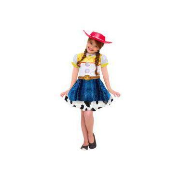 Imagem de Fantasia Jessie Toy Story 4 Vestido Infantil Original Disney Roupa Com O Chapéu Da Vaqueira Jessie