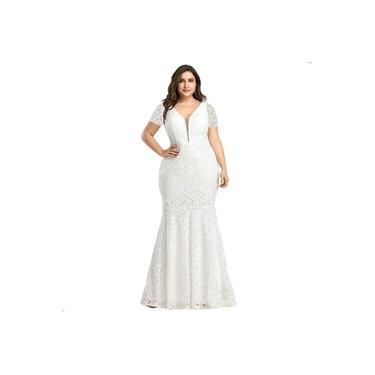 Vestido Plus Size Longo Renda Noiva Madrinha Festa Civil
