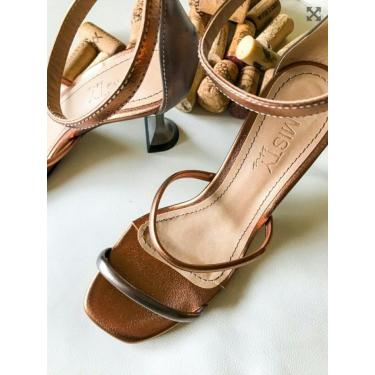 Sandália Tiras Salto Taça Amisty Material Sintético Bronze  feminino
