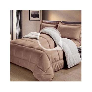Cobertor/Edredom Sherpa Dupla Face  Casal Queen Tipo Lã de Carneiro Noites Quentes Bege Cotex