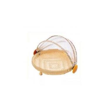 Imagem de Cesto Porta Pão e Bolo Bambu com Cobertura Retrátil G - Natural - Gzt