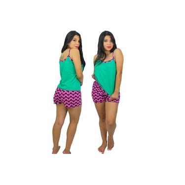 Baby Doll Short Doll Algodão Adulto Alça Fina Pijama Feminino