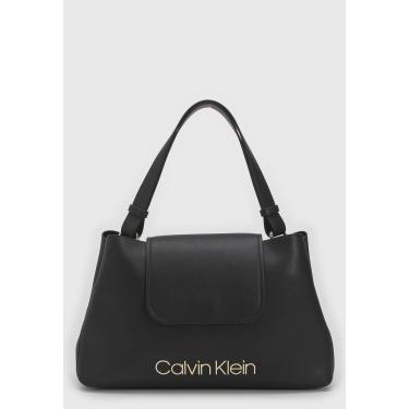 Bolsa Calvin Klein Logo Preta Calvin Klein K60K605395 feminino