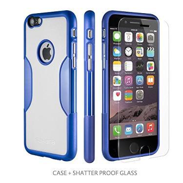 Capa para iPhone 6, branco azul com [tela de vidro temperado = melhor protetor de LCD] [capa de lente patenteada = melhores imagens] - Capa fina para iPhone 6 azul céu noturno da Sahara