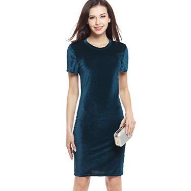 Imagem de MiaoYi Vestido feminino de veludo dourado para festa à noite, manga curta, saia lápis, encontros, coquetéis, festas à noite, Dark Green, Large