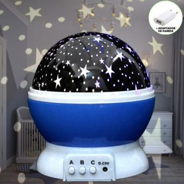 Luminária Infantil Projetor Abajur Criança Estrelas Azul CBRN10677 - C