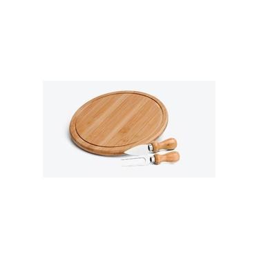 Imagem de Conjunto Kit Para Queijo 3 Peças Madeira Bambu Tabua Redonda
