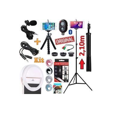Kit Youtuber Profissional Microfone De Lapela + Tripé 2,10m Celular Câmera + Kit Lentes Olho de Peixe Luz Flash Ring Light Mini Tripé Flexível + Extensão 3 Metros Original
