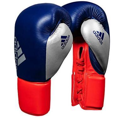 Luva de Boxe Muay Thai Adidas Hybrid 400 Pro Lace Azul/Vermelho (16oz)