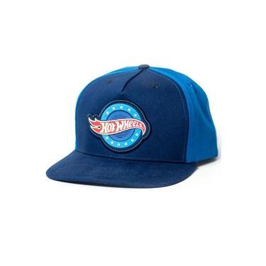 Boné Snapback Hot Wheels - Gear Head - Logo On Circle - Azul Marinho