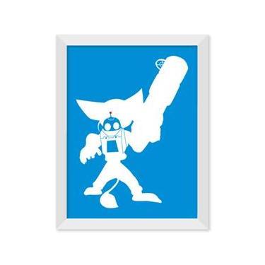 Poster de Ratchet e Clank Azul Com Moldura - Preto