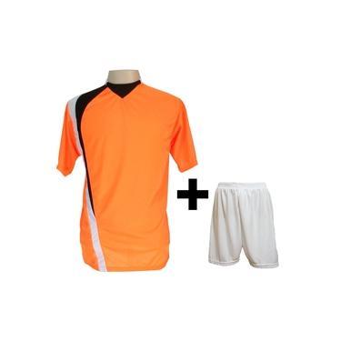 Uniforme Esportivo com 14 camisas modelo PSG Laranja/Preto/Branco + 14 calções modelo Madrid Branco +