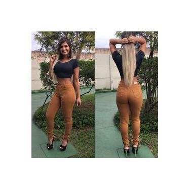 Calça Jeans Feminina Caramelo Levanta Bumbum Cós alto
