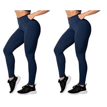 Kit com 2 Calças Legging Suplex Basic Veste Super Bem Modela o Corpo Não Fica Transparente Confortável Para Academia e Usar no Dia a Dia (P, 2 Azuis)