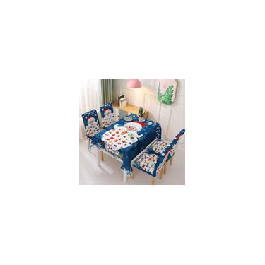 Imagem de Conjunto de cadeira de toalha de mesa à prova d'água de Natal Decoração de mesa de jantar de cozinha Família de papai noel Impressão retangular para mesa de festa Capas para cadeiras enfeites de natal Toalha de mesa 140x140cm