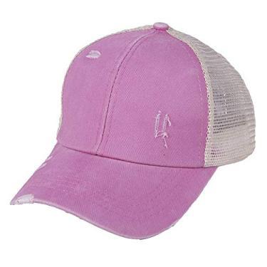 YGDA Boné de beisebol feminino cruzado com rabo de cavalo envelhecido, estilo coque, estilo caminhoneiro, boné casual de verão para uso ao ar livre, rosa, 55CM*60CM