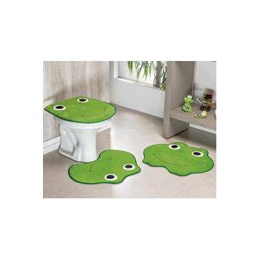 Imagem de Kit Tapetes de Banheiro Sapinho Antiderrapante 3 Peças - Verde Pistache