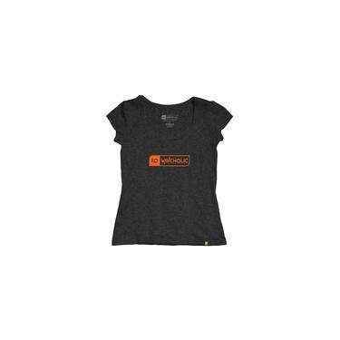 Blusa feminina sustentável Waveholic preto mescla grafite logo laranja
