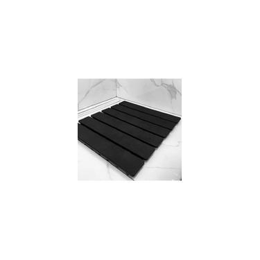 Imagem de Tapete preto Estrado Antiderrapante Para Box, banheiro, com 108 Ventosas