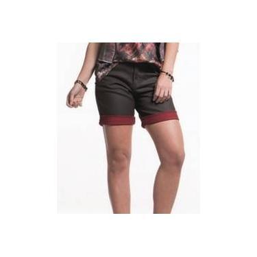 Bermuda Feminina Jeans Resinada Marrom Scalon Donna 162001