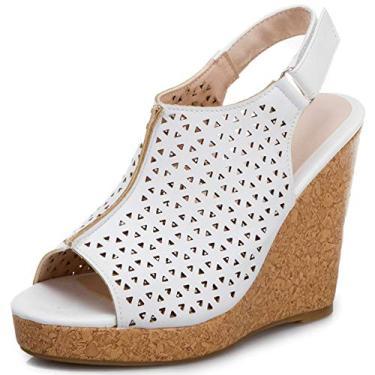 SaraIris sandália feminina anabela para o verão – Sandália de salto plataforma peep toe com recorte confortável com fivela no tornozelo, tira traseira, Branco, 8