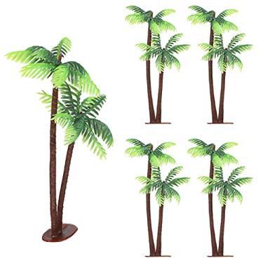 Imagem de Healifty 5Pcs Palmeiras De De Plástico Vasos de Plantas Em Miniatura Bonsai Artesanato Cenário Paisagem DIY Boneca Casa Decoração Tanque de Peixes de Aquário Tema da Praia Do Partido