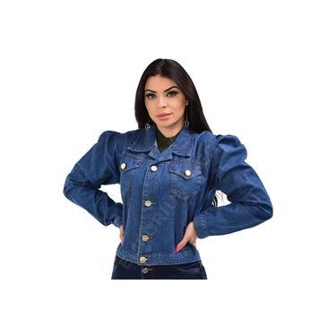 Jaqueta Curta Jeans Feminina Manga Princesa / Bufante – EWF Jeans – Azul Escuro