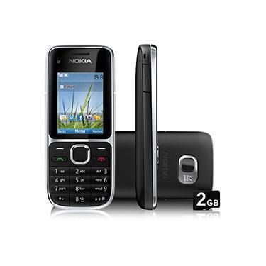 """Celular Nokia C2-01 Desbloqueado Claro, Preto, Tela 2"""", Câmera 3.2MP, 3G, Memória Interna 75MB e Cartão 2GB"""