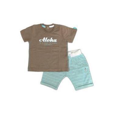 Camiseta Marrom Aloha E Bermuda Infantil Listrada Verde