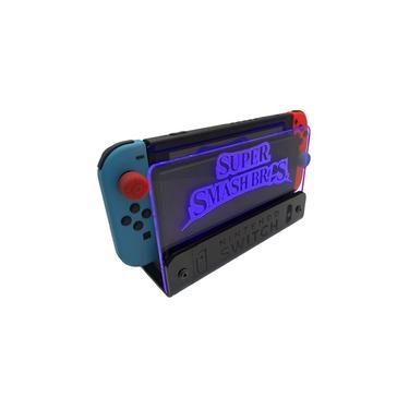 Suporte Bancada/Parede Nintendo Switch Iluminado - Smash Bros - Base Preta LED Azul