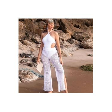 Calça Saída de Praia Tricot - Branca