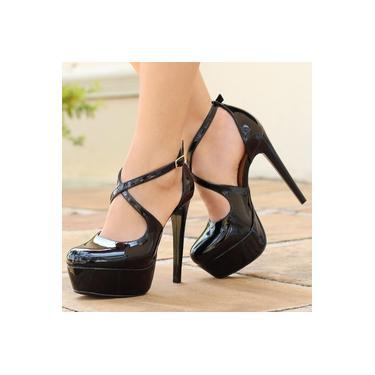 Sapato Meia Pata Di Cristalli Verniz Preto Feminino 9609169