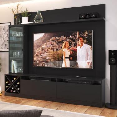Rack para TV 1,60m com Painel, Cristaleira e Adega 2021 Quiditá - Preto -